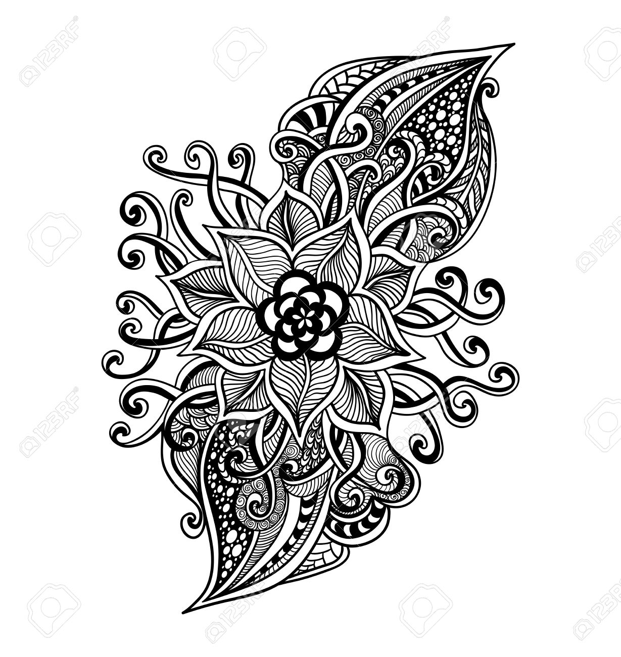 Zen Doodle Decorative Flower Black On White For Coloring Page