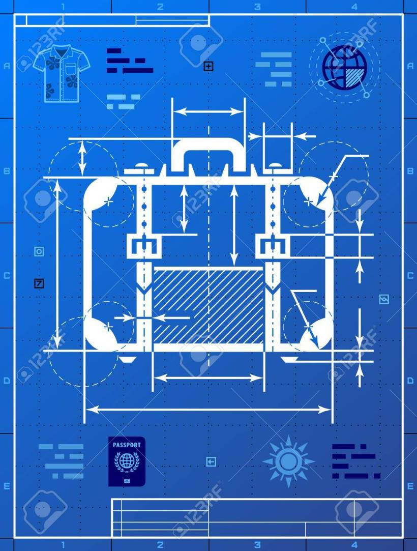 Image blueprint drafting bedwalls suitcase as blueprint drawing stylized drafting of travel bag malvernweather Image collections