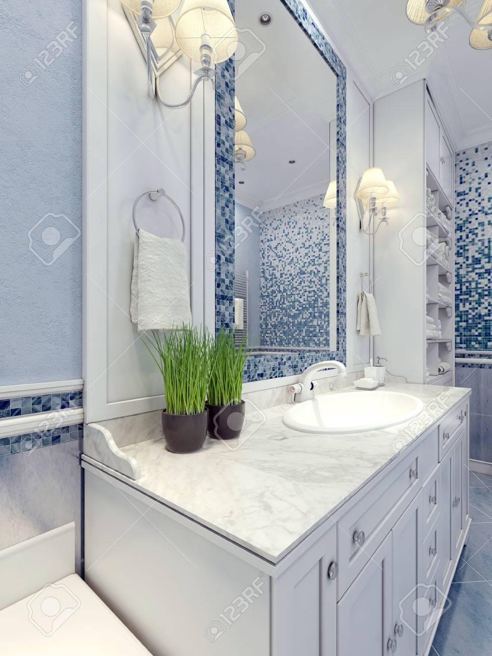 provence salle de bain bleu tendance meubles de salle blanche un grand miroir avec cadre mosaique de bleu blanc consoles melangeur d evier 3d