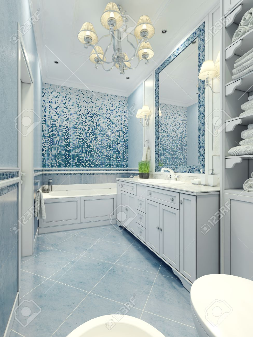 bathroom art deco style long bathroom with a mix of tile and