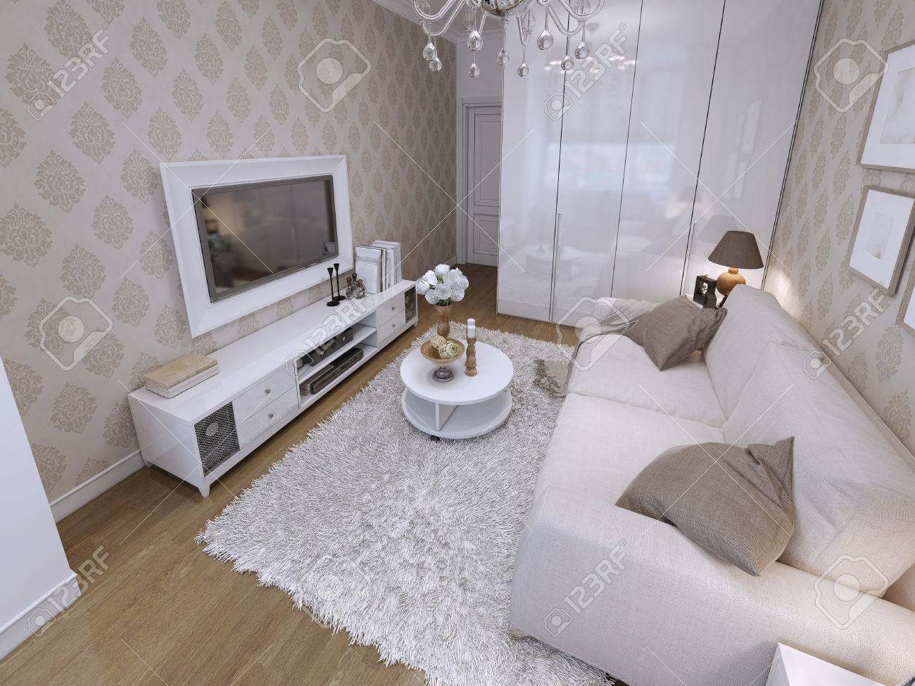 modern living room with white wardrobe and audio with tv grey