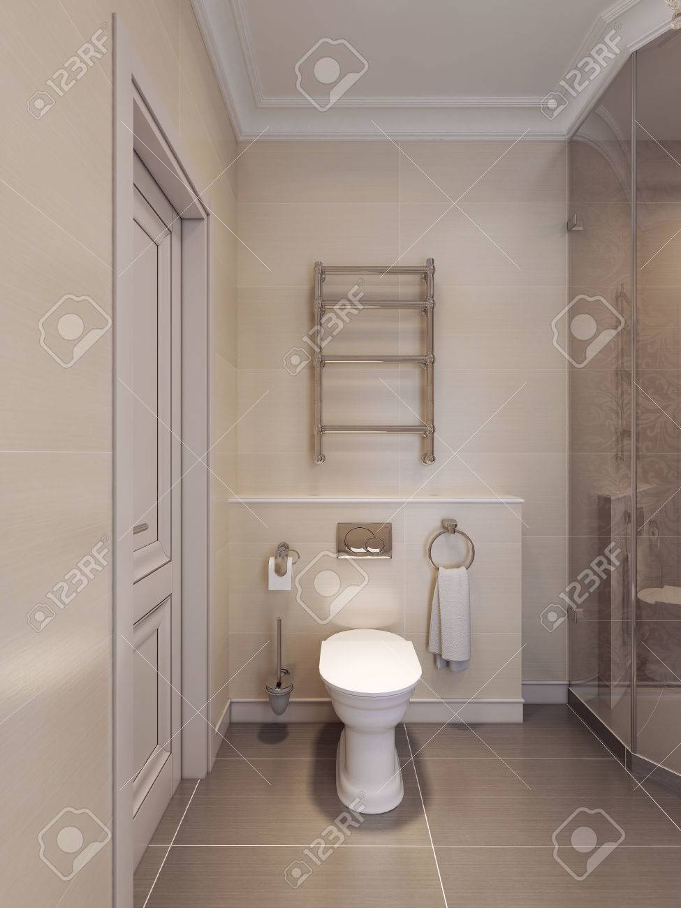 wc in the art deco style brown and beige tiles on the walls