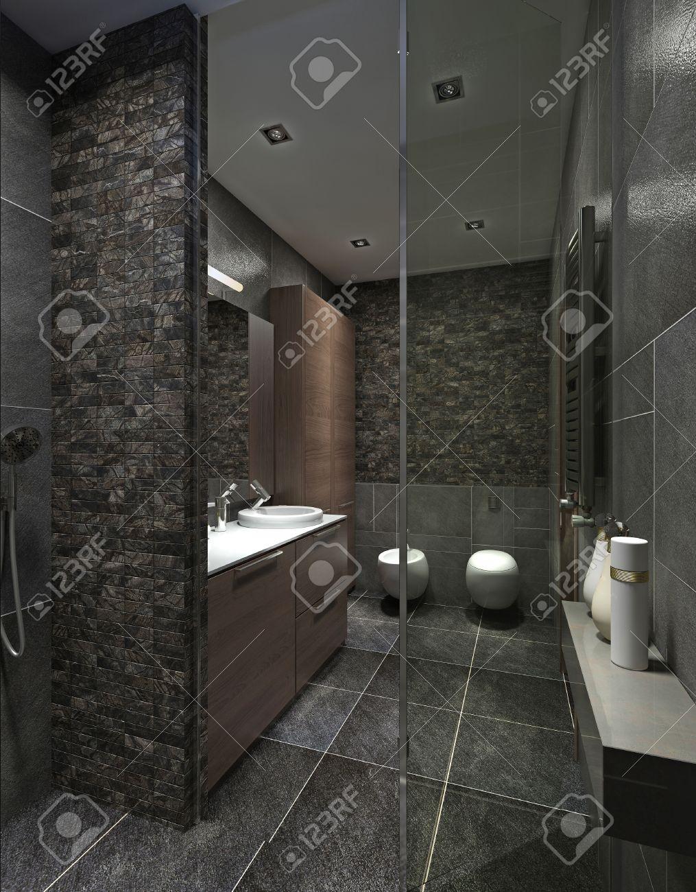 salle de bains moderne en carrelage noir mosaique et mobilier marron avec douche wc wc et bidet rendu 3d