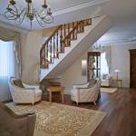 Elegant Living Room In Private House With Stairs White Walls
