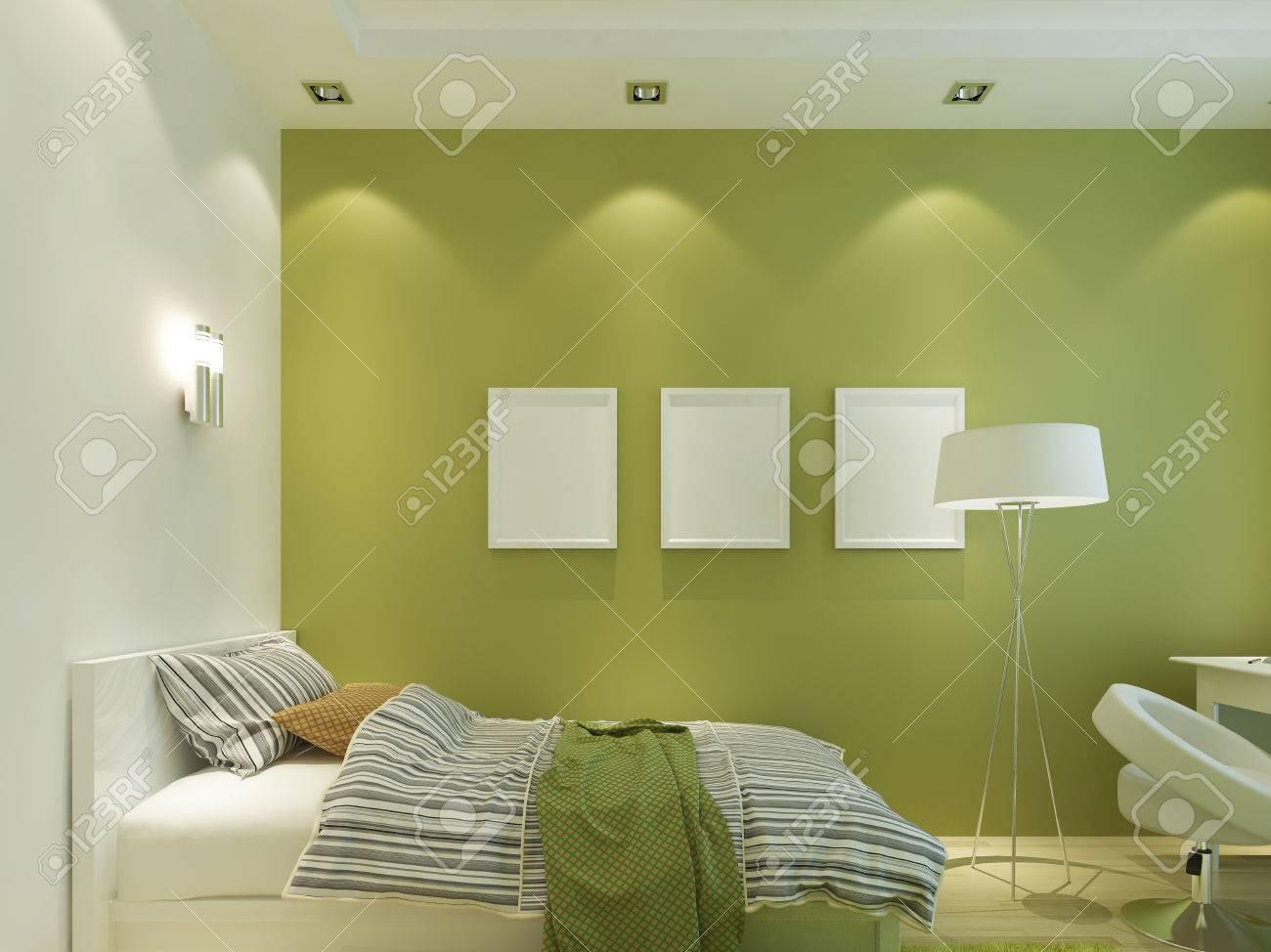la chambre des enfants modernes de couleur verte avec des affiches facettises sur le mur et le lit rendu 3d