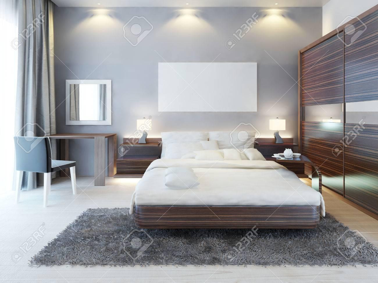 vue de face de la chambre a coucher dans un style moderne un grand lit une coiffeuse avec une chaise et un grand placard coulissant au dessus du