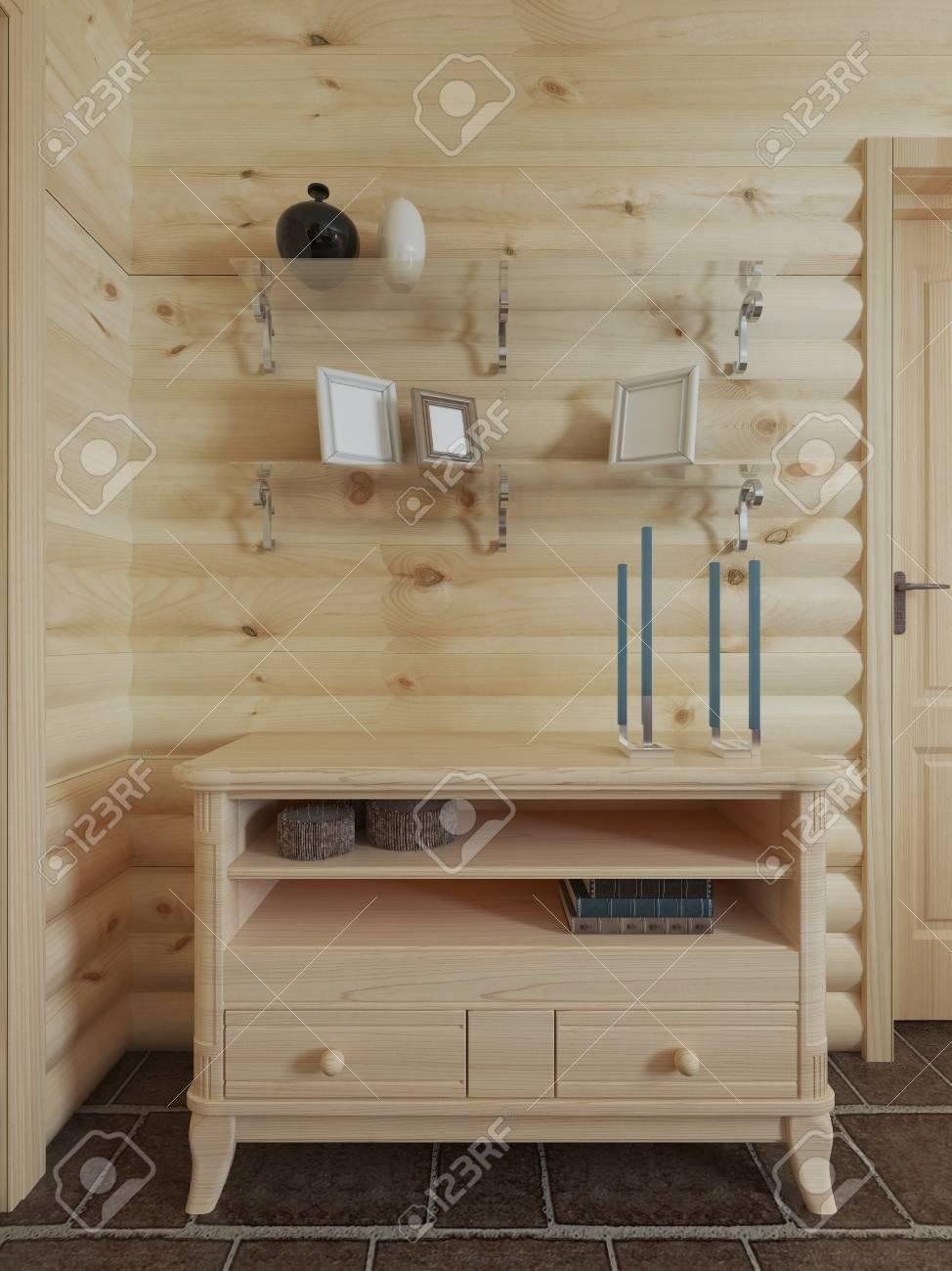 commode en bois dans le mur au dessus de l etagere de la commode avec decor a l interieur de la maison de journal rendu 3d