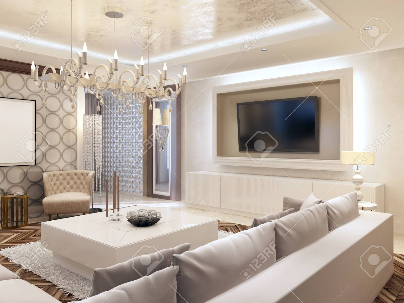 salon moderne dans les couleurs blanc avec rangement integre pour la television grand canape d angle et blanc table basse rendu 3d