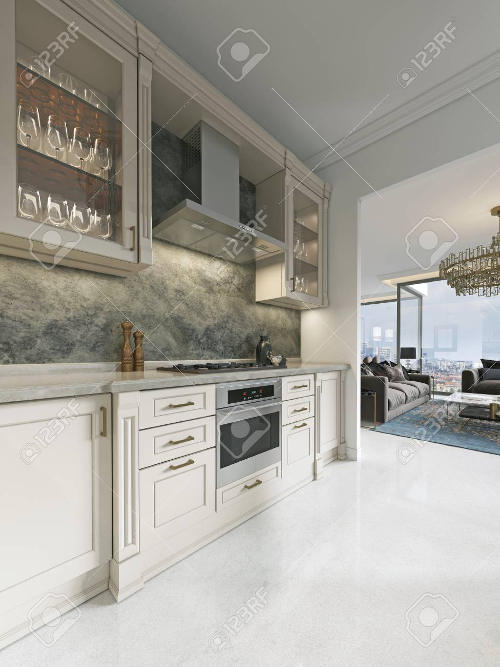 Modern Art Deco Kitchen With Classic Elements Glass Facade And Stock Photo Picture And Royalty Free Image Image 113307368