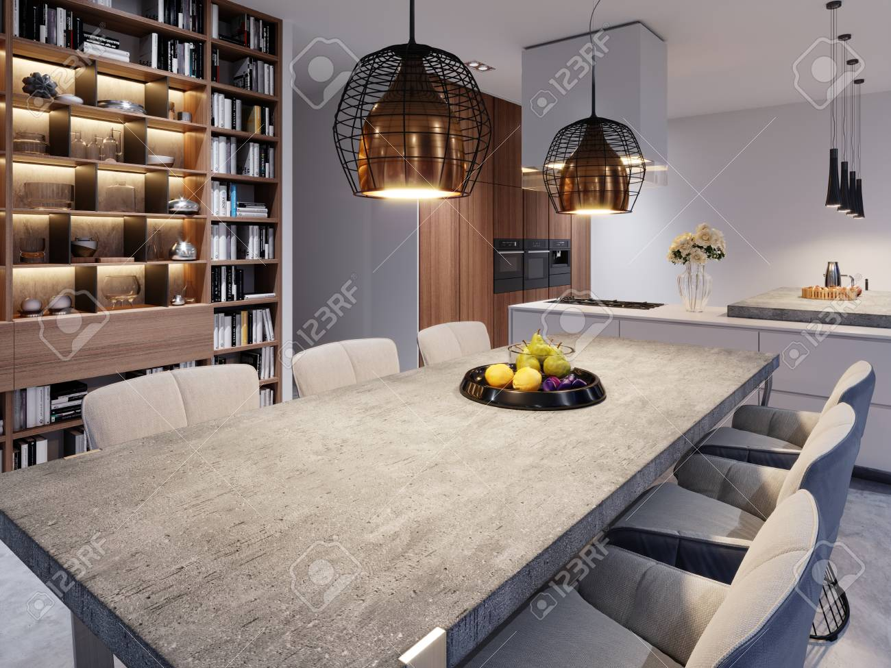 A Large Dining Table With A Concrete Worktop Large Designer Stock Photo Picture And Royalty Free Image Image 113380070