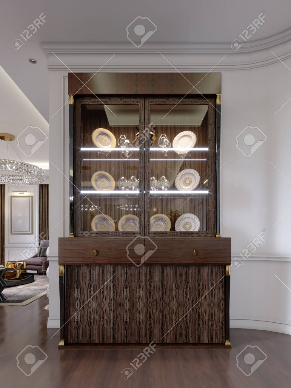 glass cabinet with dishes on the shelves and lighting in a modern
