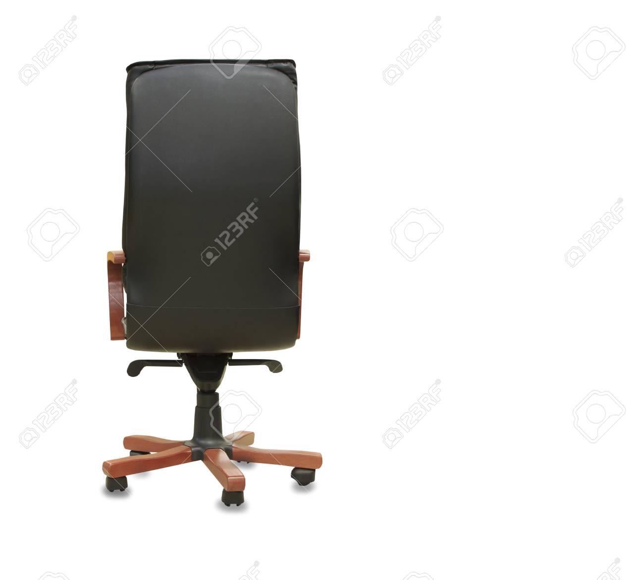 vue de dos de la chaise de bureau moderne de cuir noir isole banque d images et photos libres de droits image 80419838