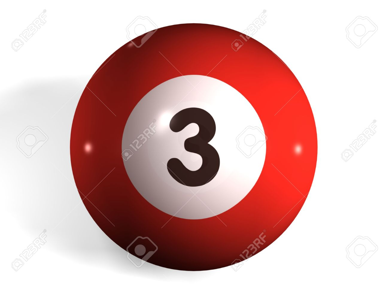 isolated 3d pool ball number 3 stock photo, picture and royalty
