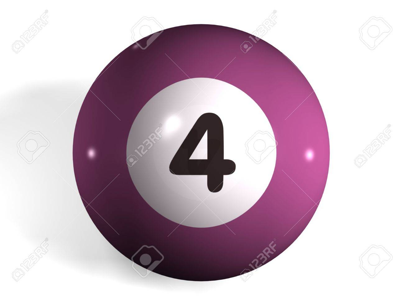 isolated 3d pool ball number 4 stock photo, picture and royalty