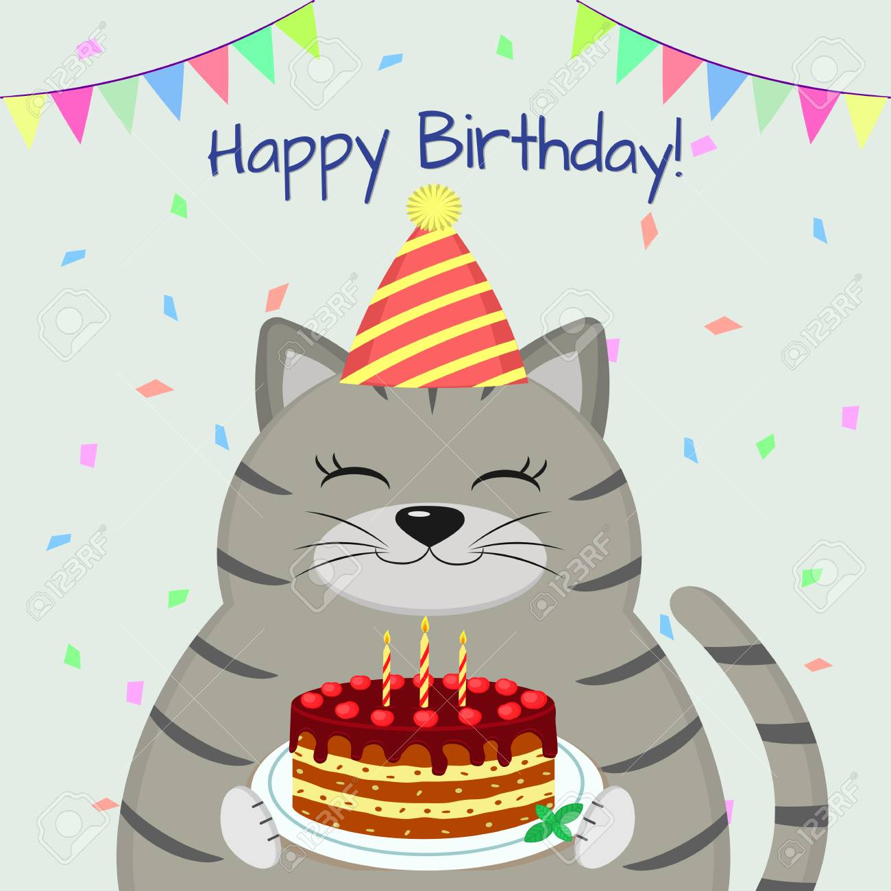 A Gray Fat Cat In The Cap Sits And Holds A Cake In Its Paws Royalty Free Cliparts Vectors And Stock Illustration Image 102051845