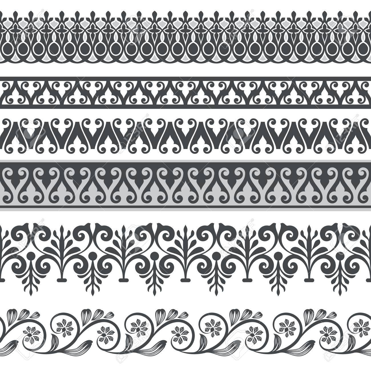 Seamless Floral Border Vector Template Ornament Repeating Divider Royalty Free Cliparts Vectors And Stock Illustration Image 74694052