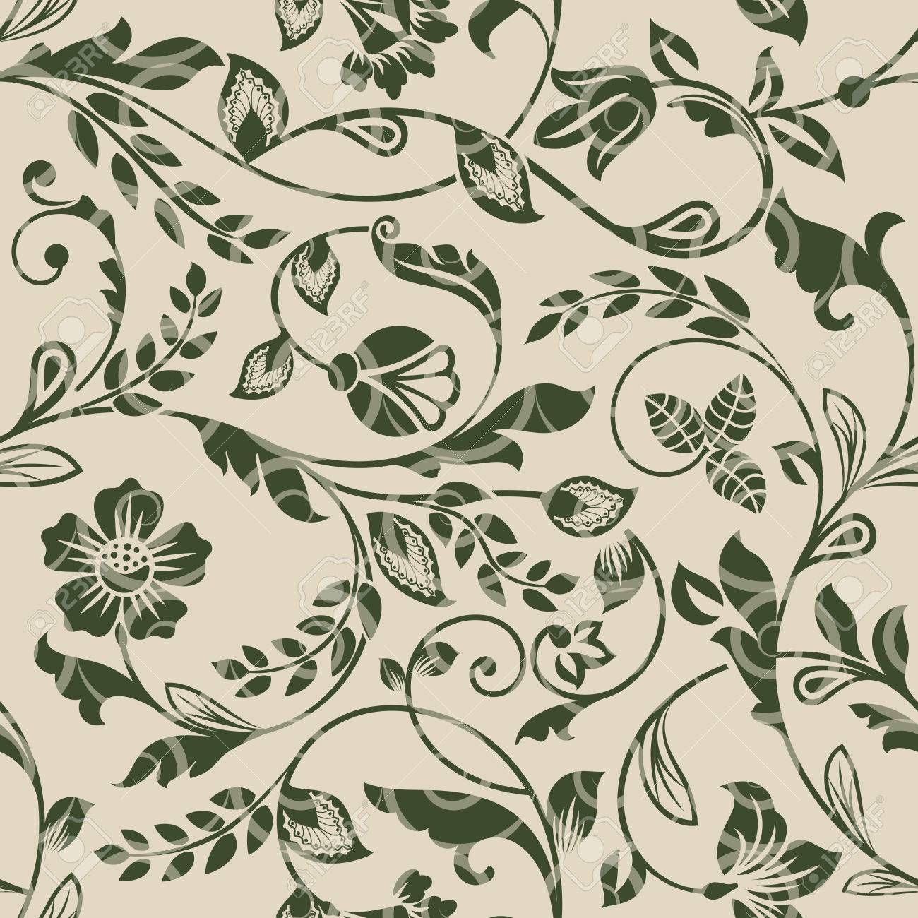 Seamless Beige And Green Floral Vector Wallpaper Pattern Seamless Royalty Free Cliparts Vectors And Stock Illustration Image 80227455