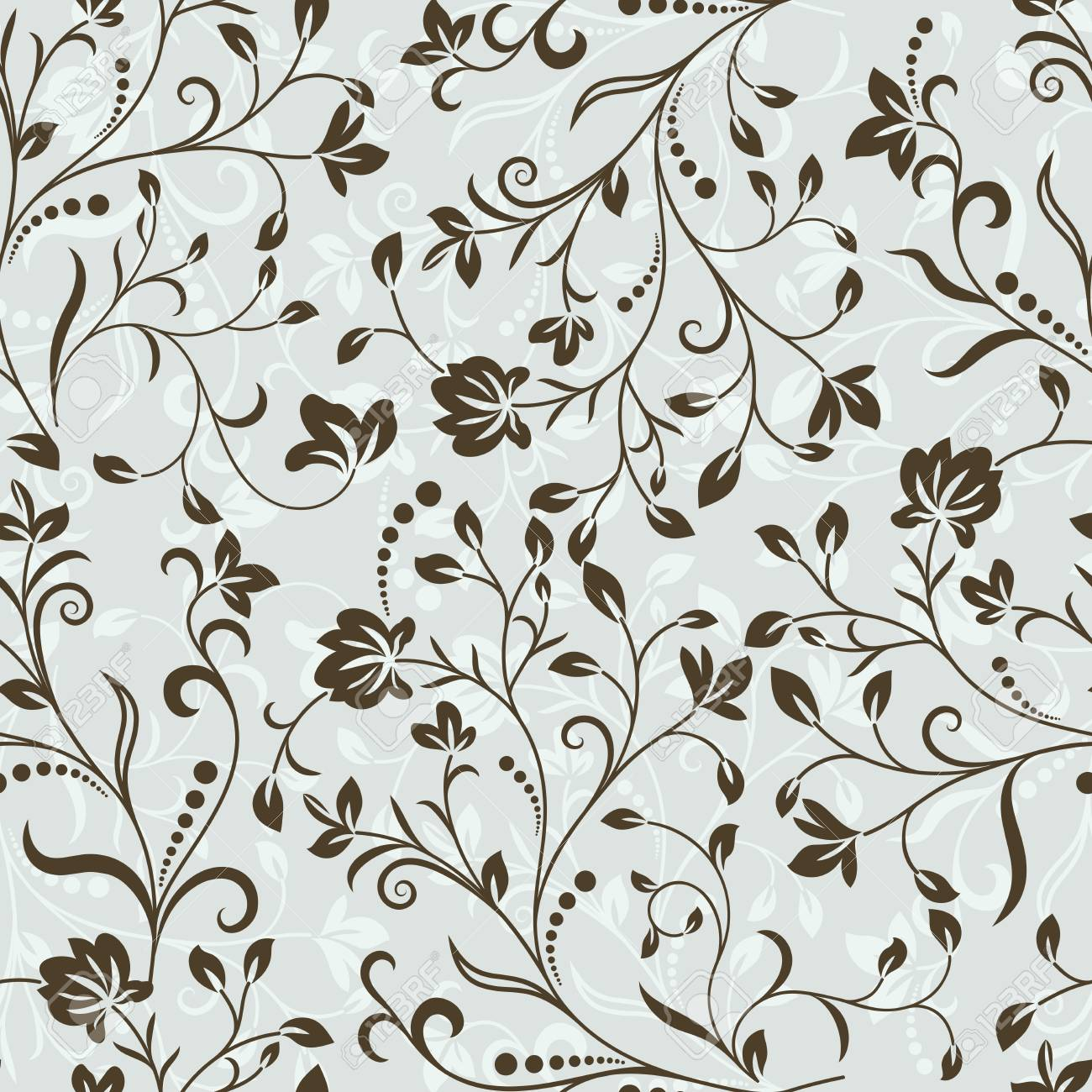 Seamless Grey And Brown Floral Vector Wallpaper Pattern Seamless Royalty Free Cliparts Vectors And Stock Illustration Image 86557960