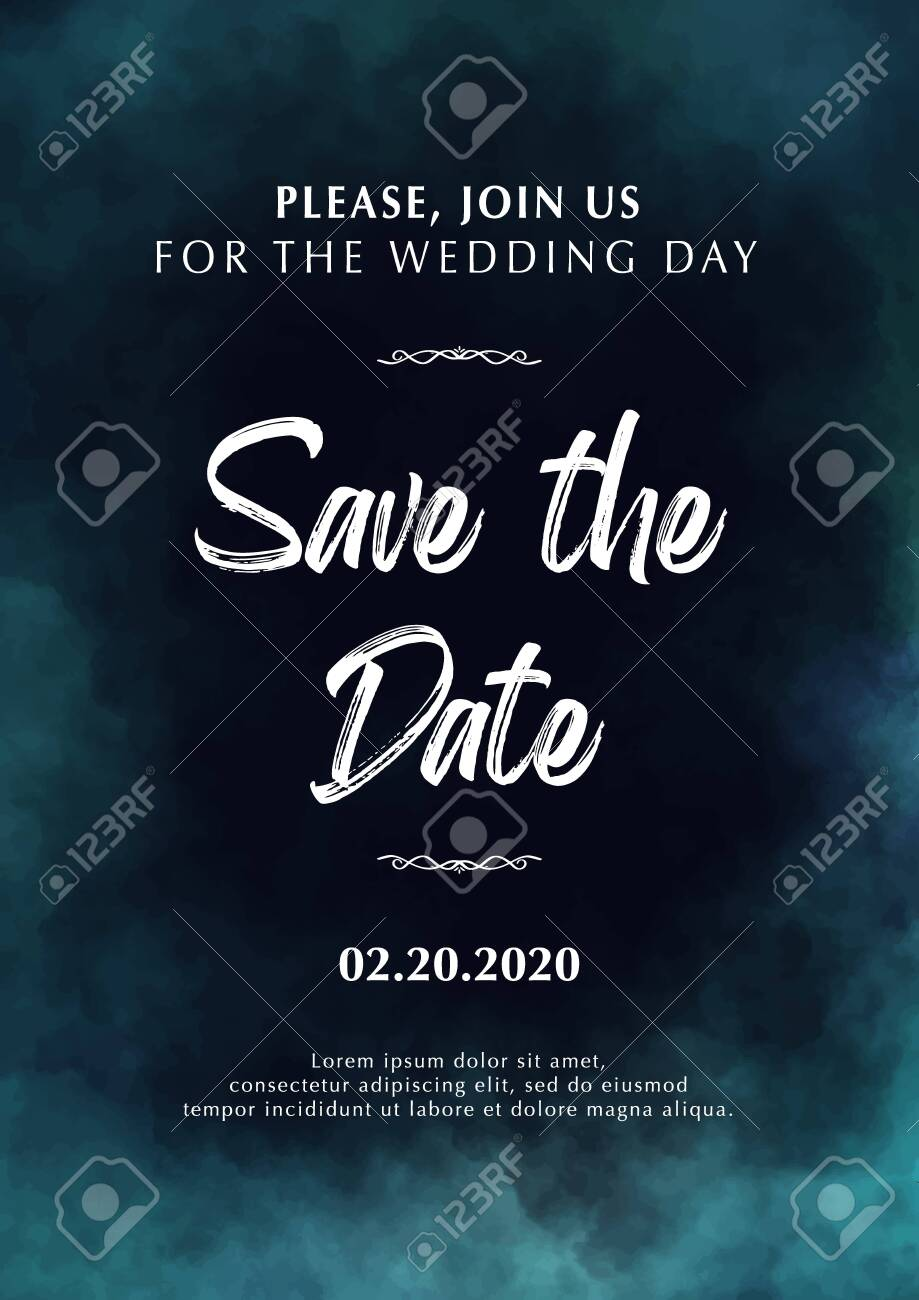 wedding invitation save the date poster with cloudy background
