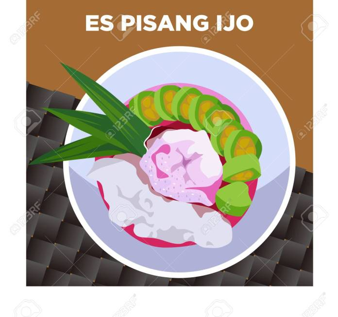 Es Pisang Ijo Indonesian Traditional Drinks And Food From Makassar Royalty Free Cliparts Vectors And Stock Illustration Image 148123514