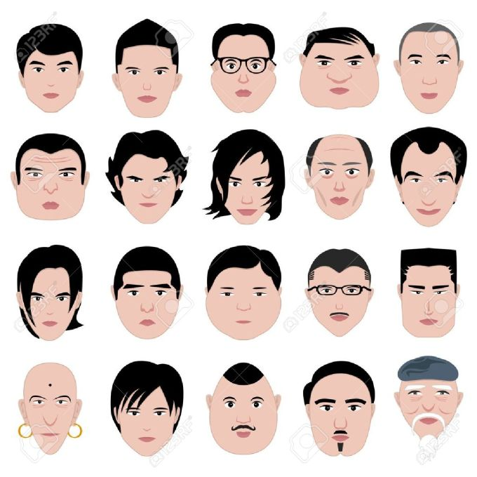 man face shape hairstyle round fat thin old royalty free cliparts