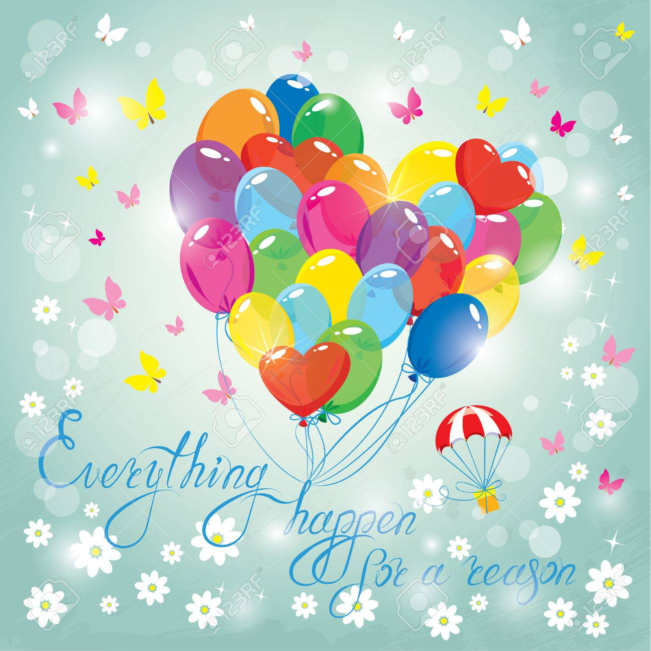 image with colorful balloons in heart shape on sky blue background