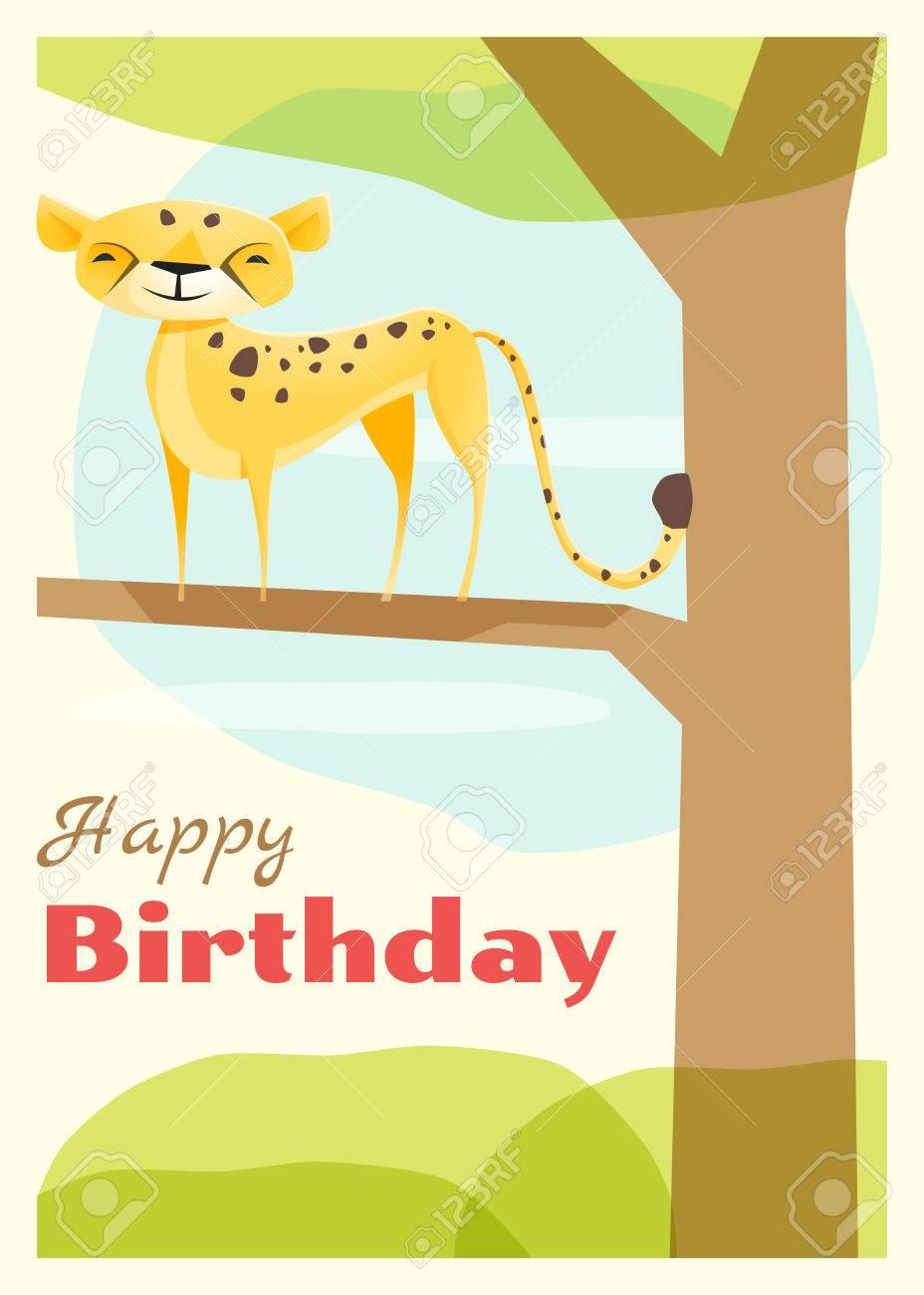 anniversaire et invitation carte animaux avec guepard vecteur illustration clip art libres de droits vecteurs et illustration image 56654042
