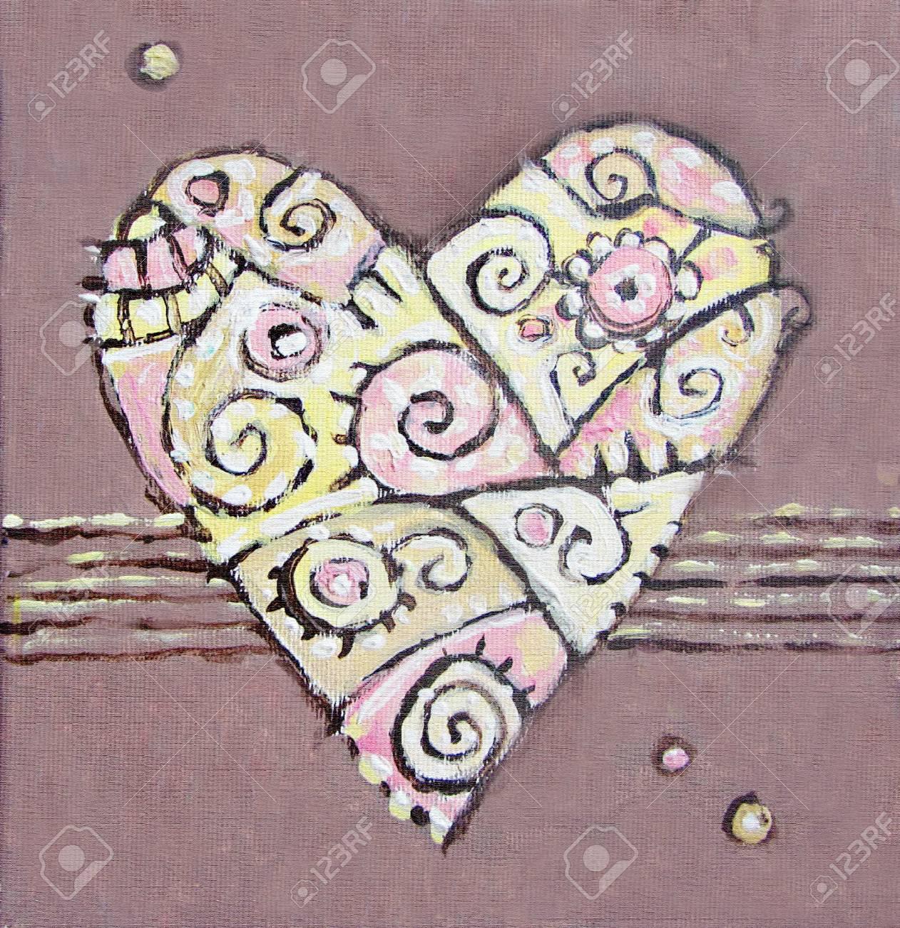 Herzbild Braun Rot Herz Acryl Gemalde Geschenk