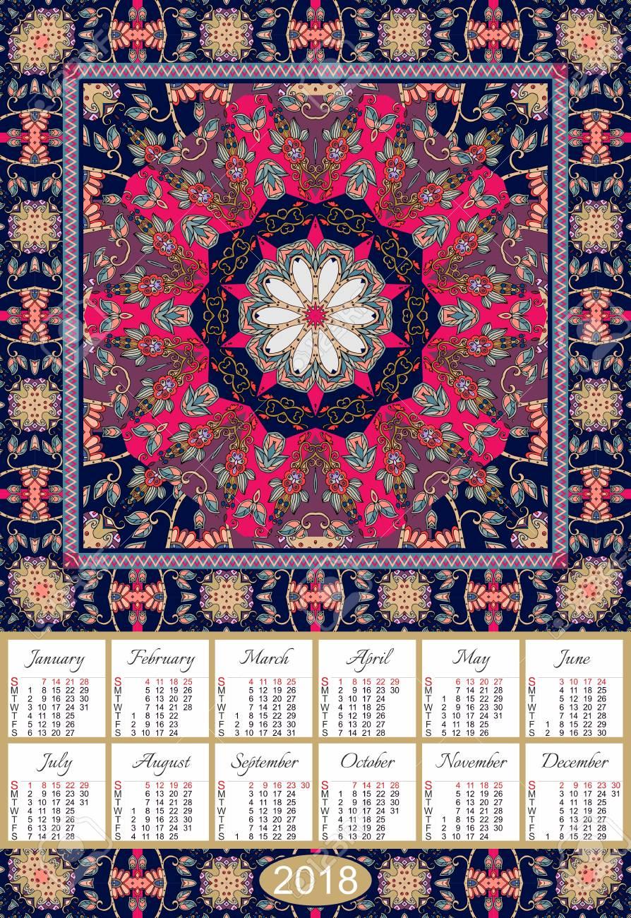 calendrier pour l annee 2018 sur tapis ornemental indien motif mandala avec marguerite la semaine commence le dimanche design vintage clip art libres de droits vecteurs et illustration image 68388791