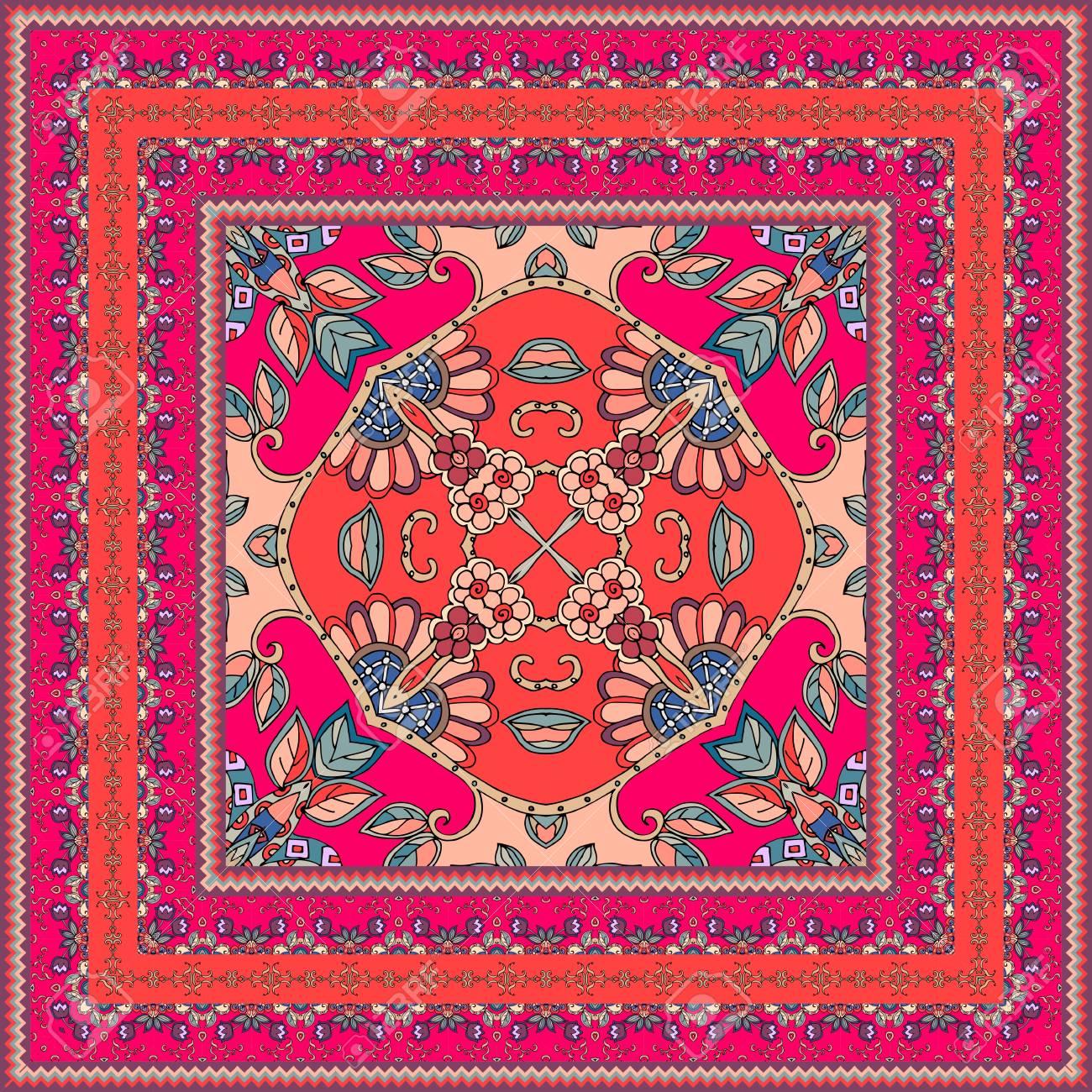 banque d images belle echarpe orientale avec bordure ornementale belle nappe tapis bandana impression taie d oreiller imprimer pour le tissu