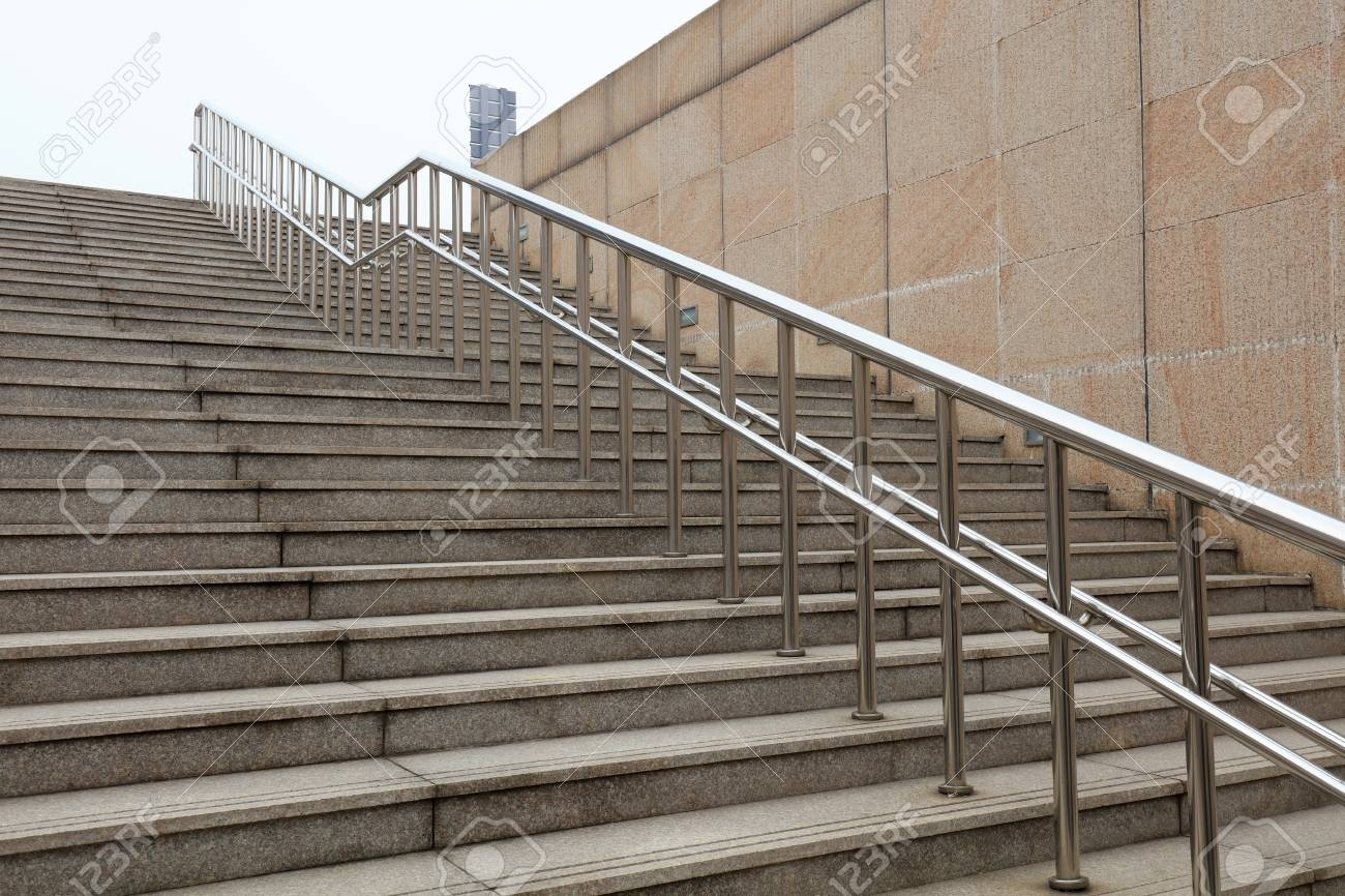 Stainless Steel Handrails And Steps Stock Photo Picture And | Steel Handrails For Steps | Baluster | Aluminum | Steel Tube | Price | Designing