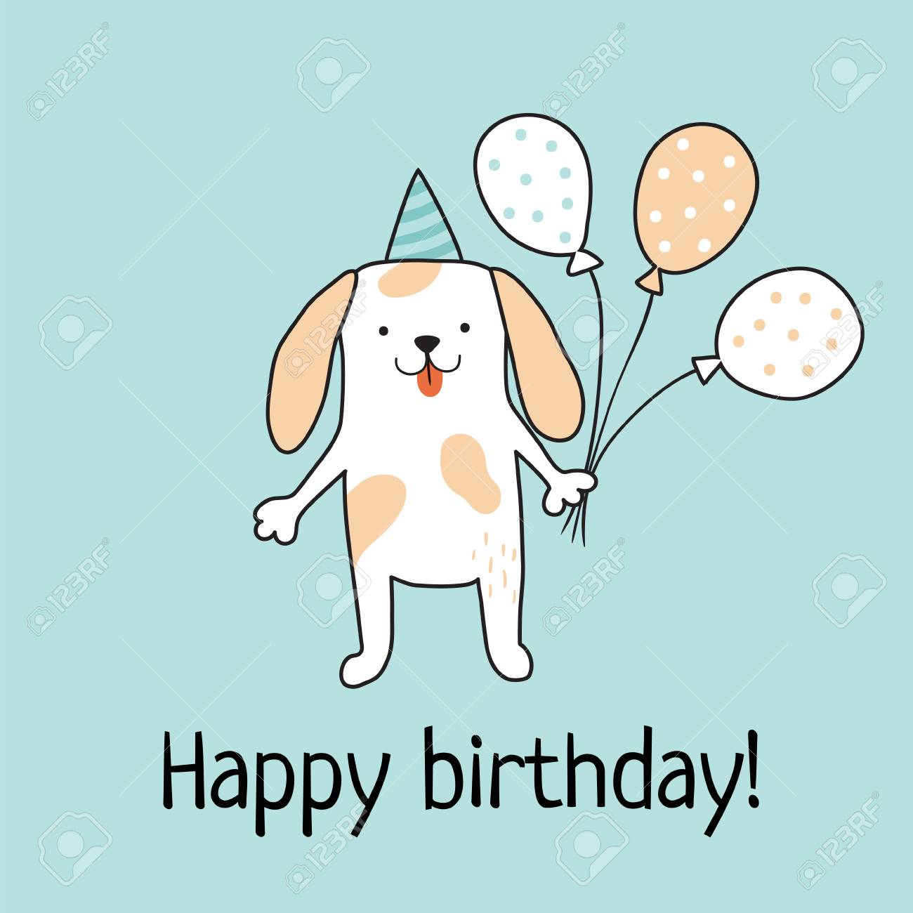 Vector Template Of A Birthday Card Cute Dog Holding Baloons Royalty Free Cliparts Vectors And Stock Illustration Image 69772526