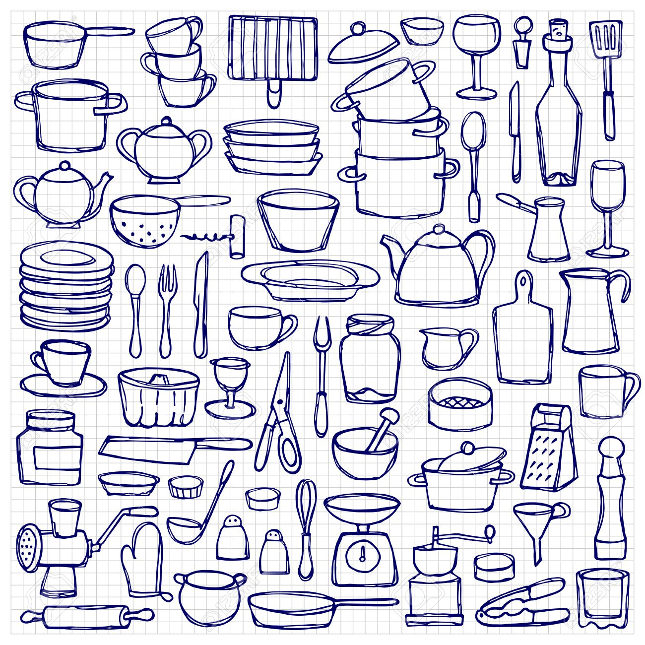 Kitchen Doodles Coloring Page Sketch Of Kitchen Objects And