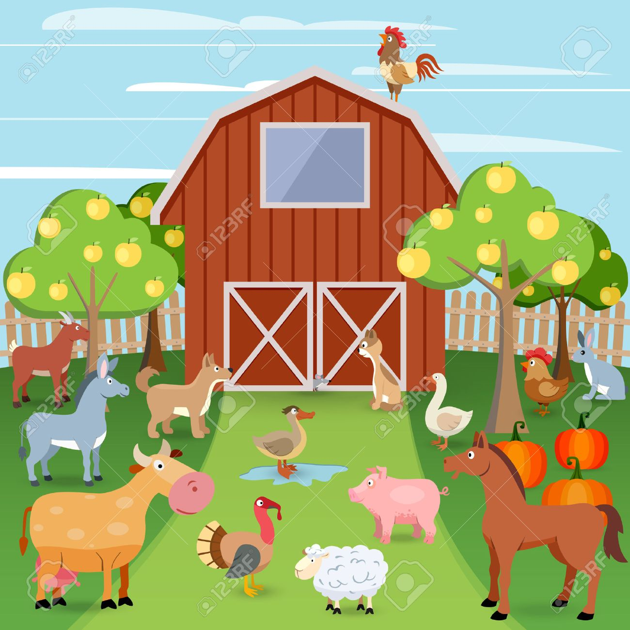 Summer Farm With Wooden House And Domestic Animals Vector Illustration Royalty Free Cliparts Vectors And Stock Illustration Image 32133891