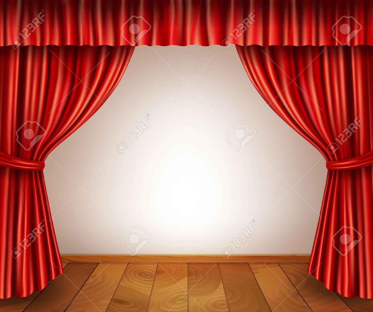 scene de theatre avec plancher en bois de velours rideau rouge retro style ouvert isole sur fond blanc illustration vectorielle