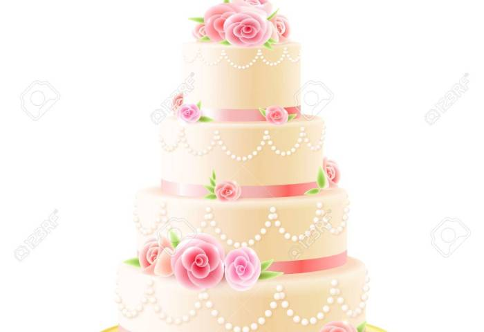 Classic 3 Tiered Delicious Wedding Cake With White Icing Decorated