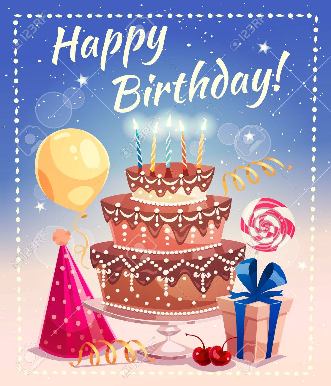 Happy Birthday Greeting Card With Big Cake Candles Gift Box Tied Royalty Free Cliparts Vectors And Stock Illustration Image 68111614