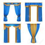 Golden Blue Long Luxury Drapes Curtains Set 4 Realistic Living