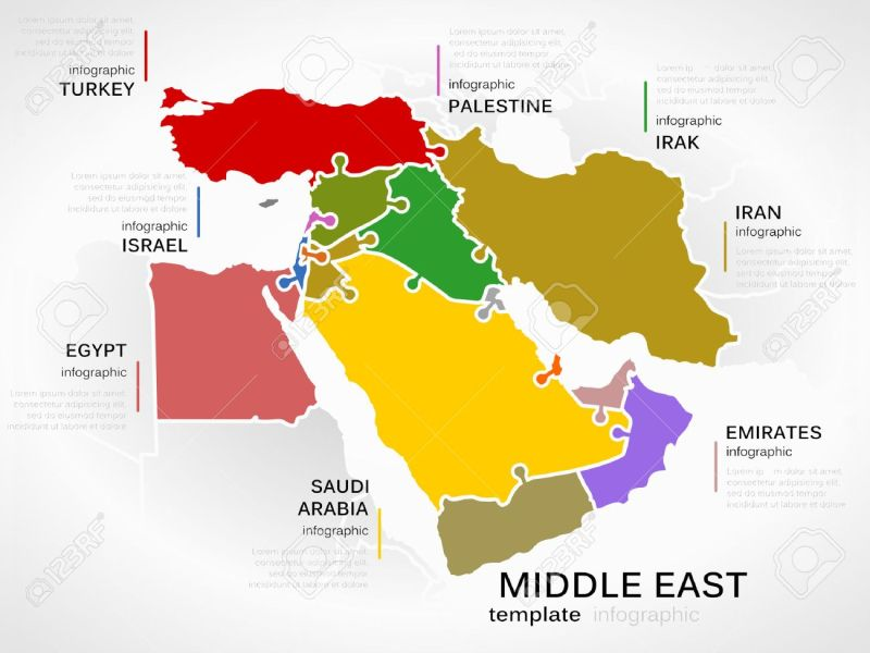 Middle East Map Concept Infographic Template With Countries Made     Middle east map concept infographic template with countries made out of  puzzle pieces Stock Vector
