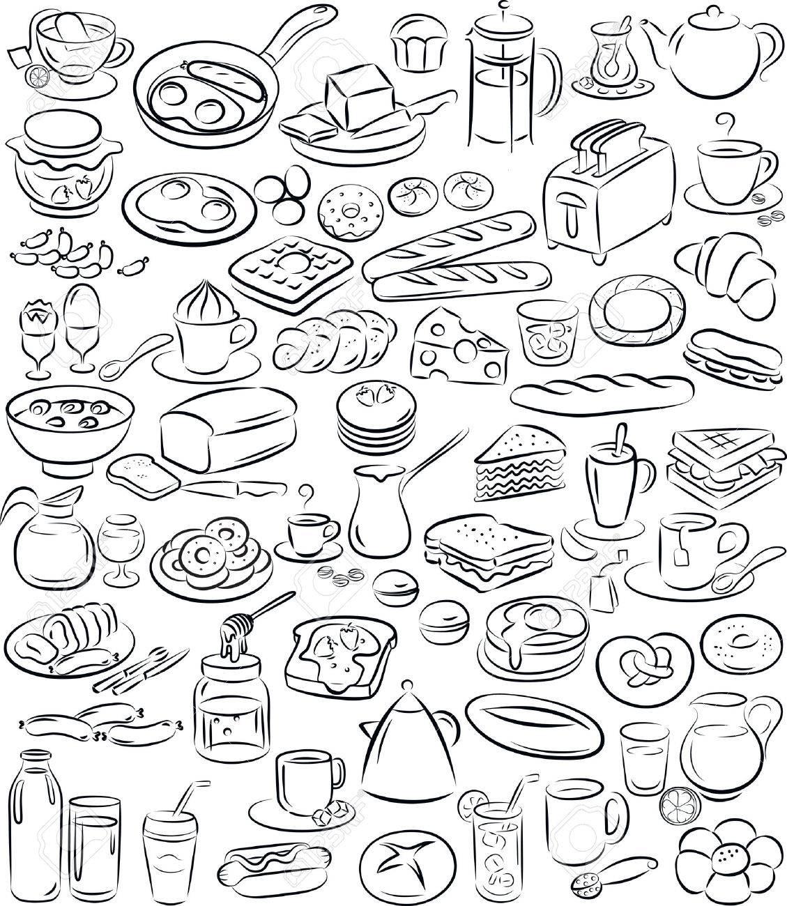 illustration de la collection de petit dejeuner en noir et blanc