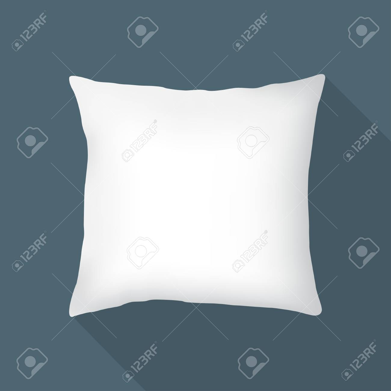 white square pillow isolated on black background vector illustration