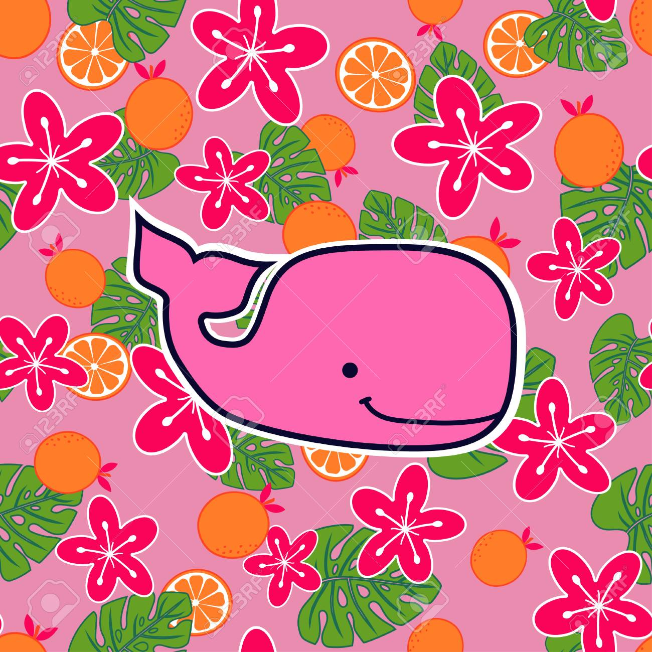 Pattern With Pinksperm Whale On Flower And Fruit Background Royalty Free Cliparts Vectors And Stock Illustration Image 99599125