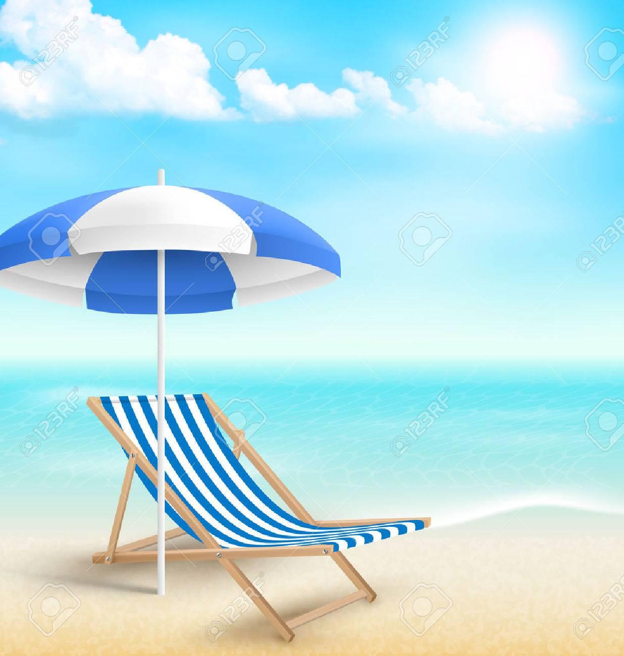 plage avec parasol sur la plage chaise de plage et les nuages les vacances d ete fond