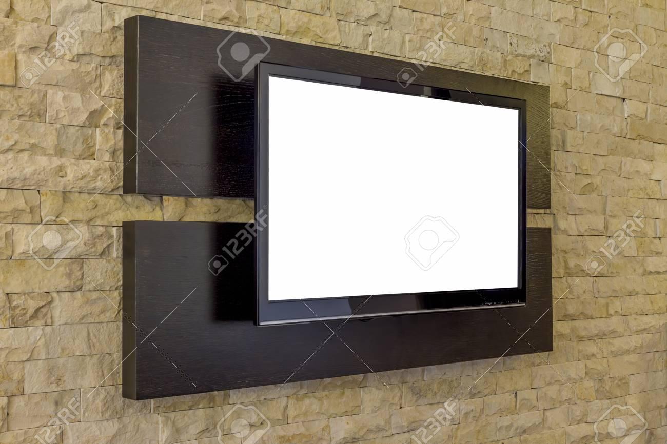 affichage de television sur un nouveau fond de mur de briques interieur du salon moderne tv sur le mur de briques