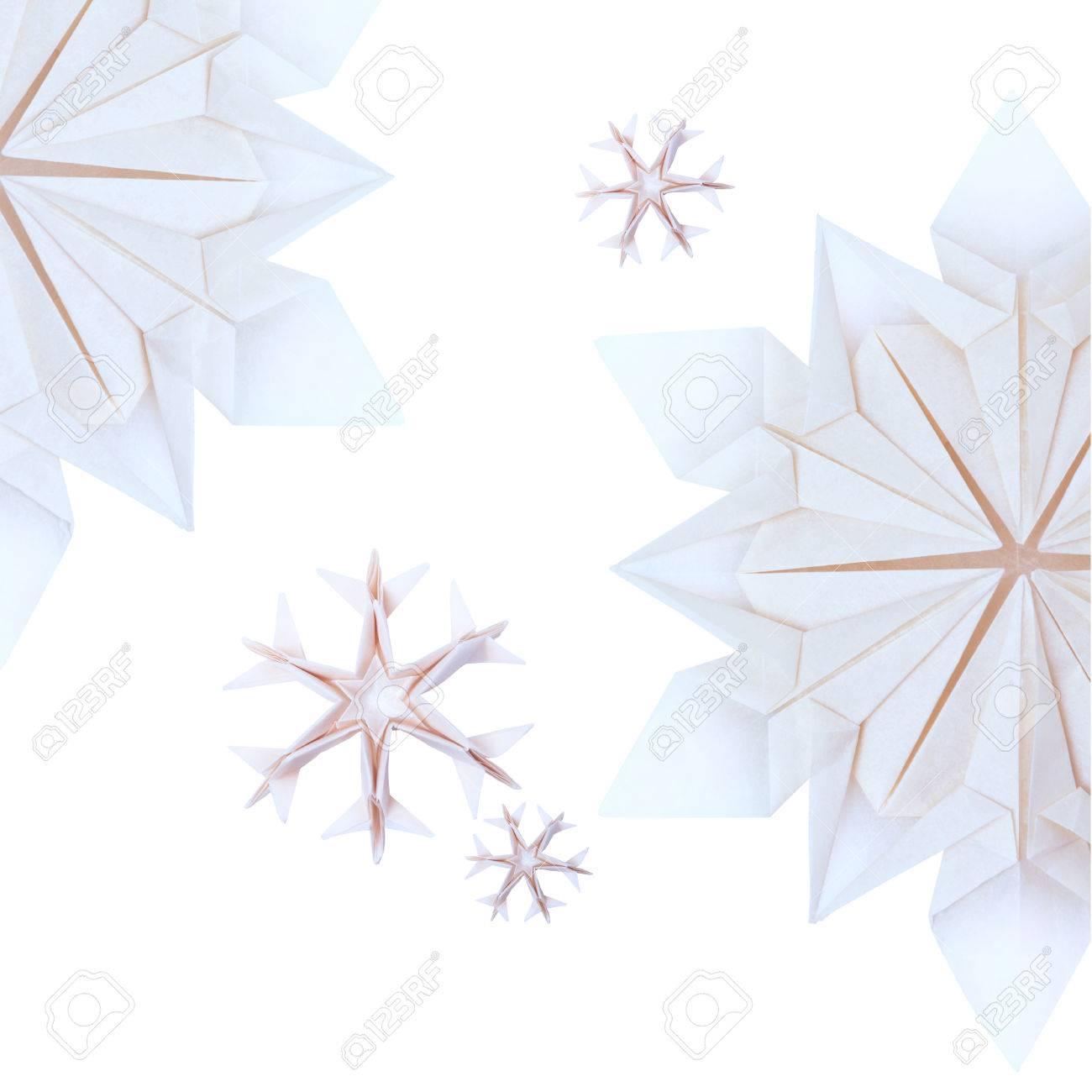 Origami Carta Fragilità Natale Freddi Fiocchi Di Neve Blu Su Sfondo Bianco