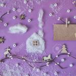 Greeting Card With Christmas Decorations House Made Of Cotton Stock Photo Picture And Royalty Free Image Image 69687797