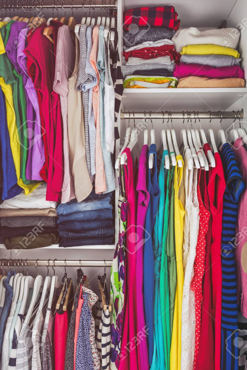 Home Closet Bedroom Clean Wardrobe Of Women Fashion Clothing Stock Photo Picture And Royalty Free Image Image 110811529
