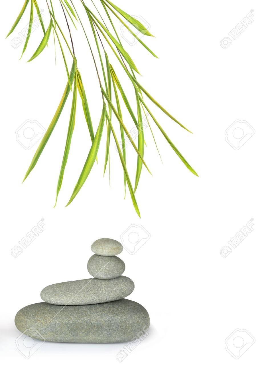 zen dessin abstrait de gris spa pierres en equilibre parfait avec des feuilles de bambou herbe sur fond blanc
