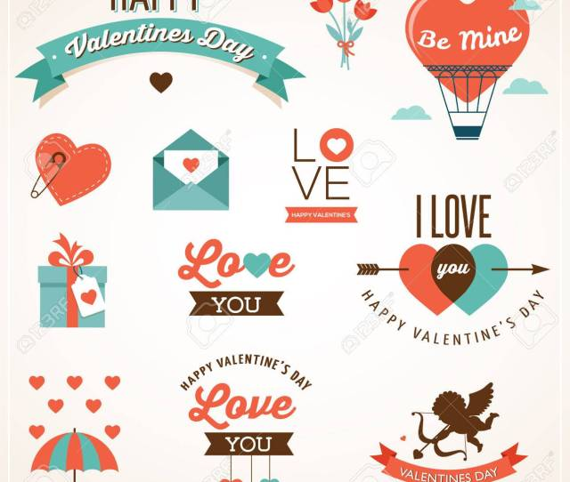 Valentines Day Icons Lettering Ribbons And Elements Stock Vector