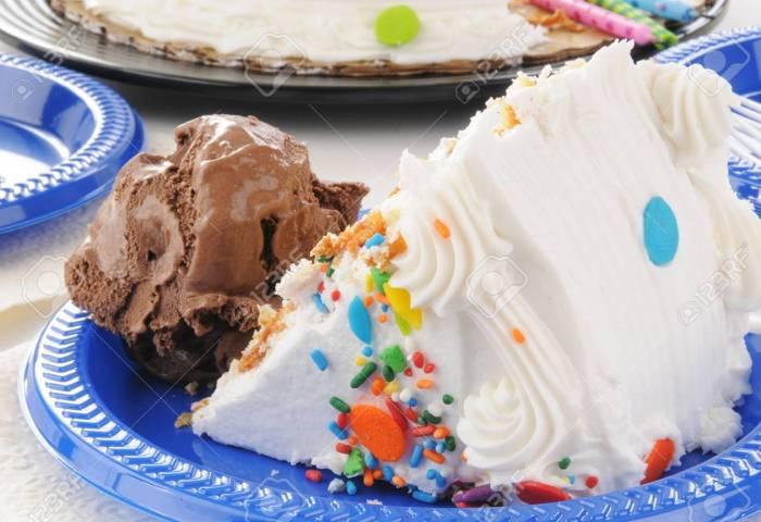 Closeup Of A Slice Of Birthday Cake With Chocolate Ice Cream Stock
